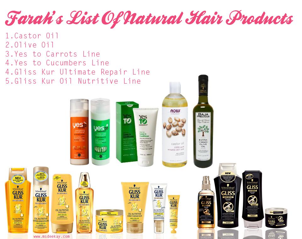 Farah's natural hair products