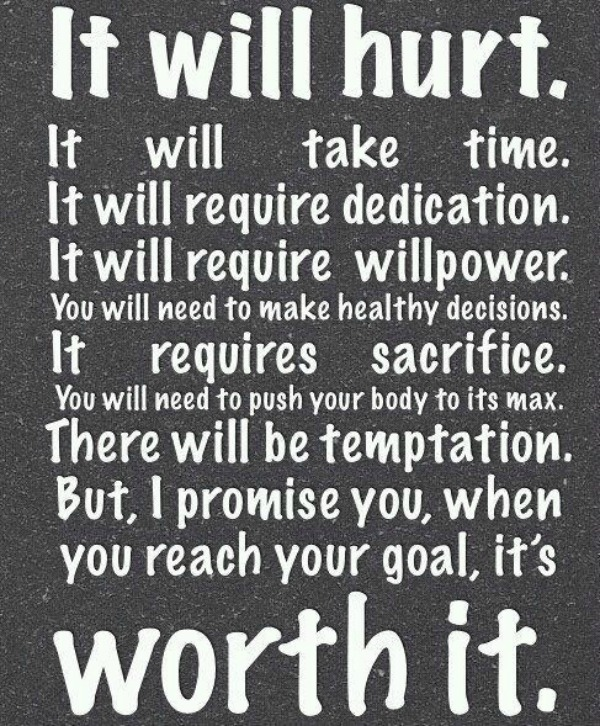 motivation inspiraton it will hurt but its worth it