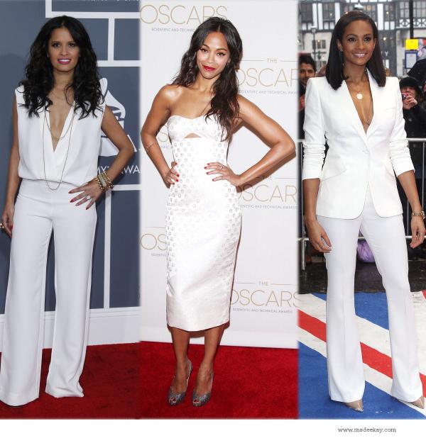 white fashion trend Rocsi Diaz,  Zoe Saldana and Alesha Dixon
