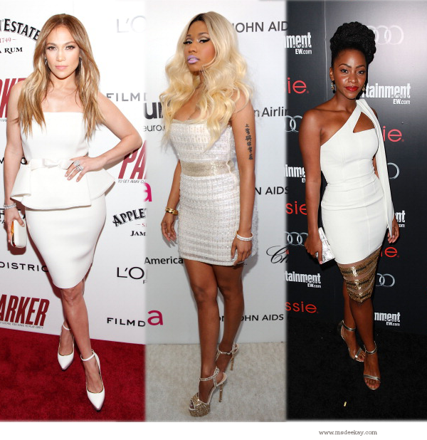 White Fashion Trend Jennifer Lopez, Nicki Minaj and Teyonah Parris