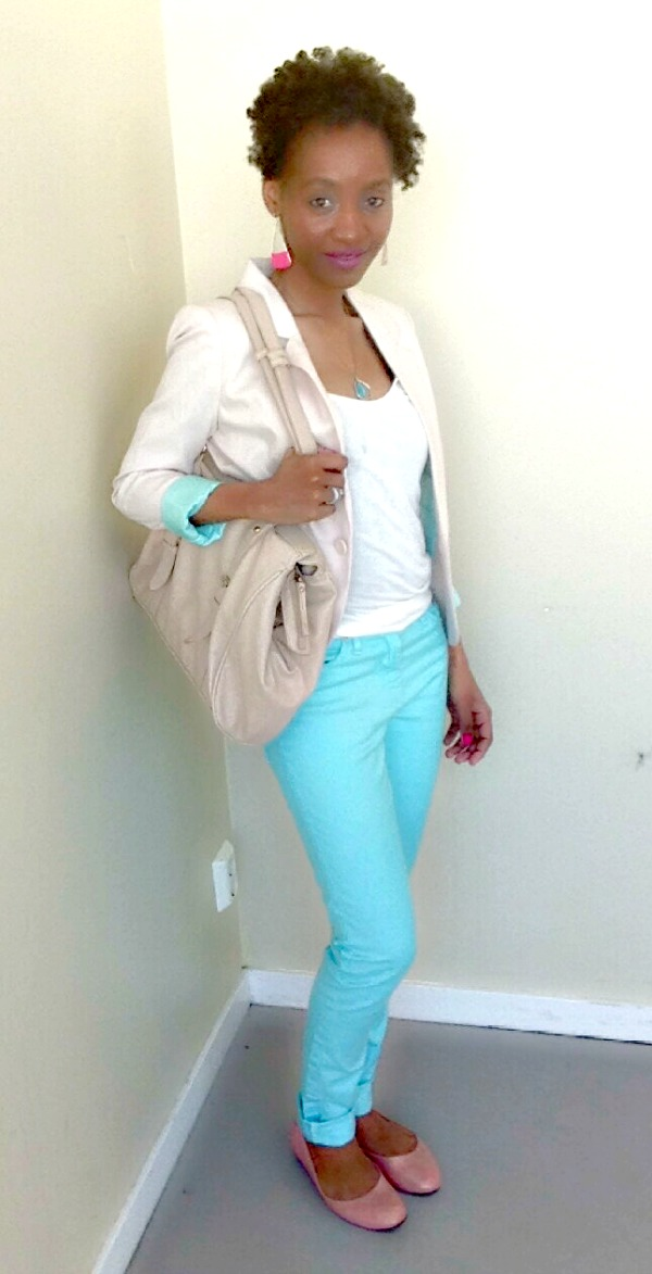 mint jeans cream blazer white tank flats