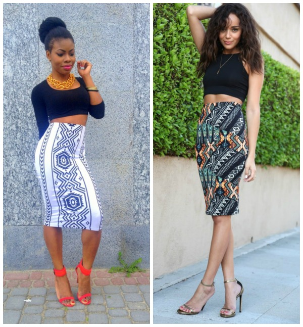High Waisted Pencil Skirt And Crop Top