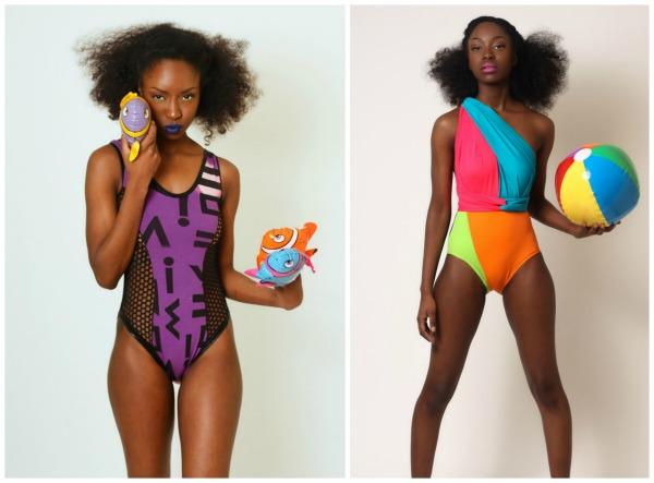 nakimuli, swimwear, fun swimwear, stylish swimwear, fashionable swimwear, bleached geo, bright delight