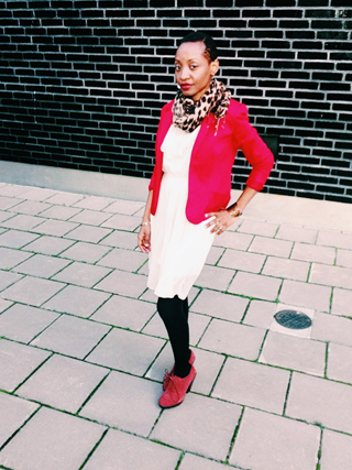 little-white-dress-red-blazer-animal-print-scarf