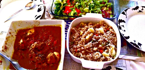 eid-lunch-rice-pilaf-curry-chicken-salad