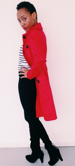 Red Trench Coat ASOS, Striped Top H&M, Skinny Pants H&M, Ankle Booties ASOS, yellow bubble statement necklace Accessorize