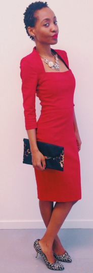 asos red pencil dress newlook leopard print clutch newlook animal print heels accessorize statement necklace