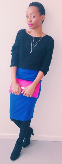 cobalt blue skirt radiant orchid clutch pencil skirt