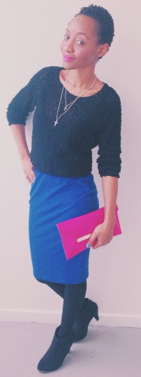 black hnm top cobalt blue pencil skirt radiant orchid clutch