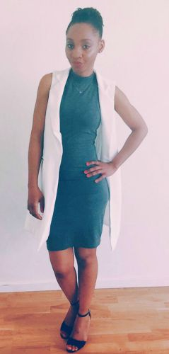 gray structured dress