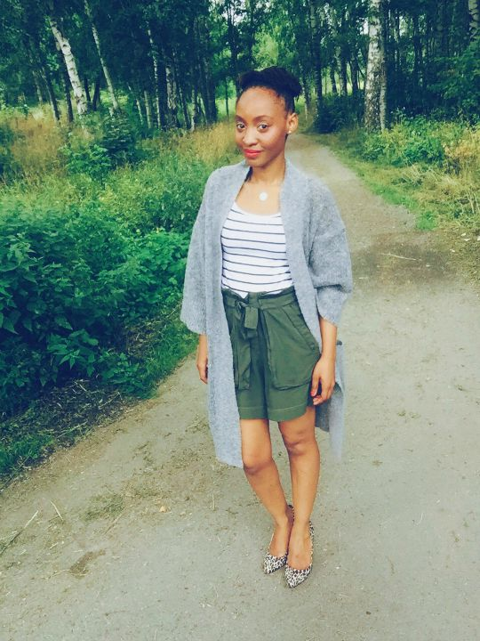 cardigan, olive shorts, stripes